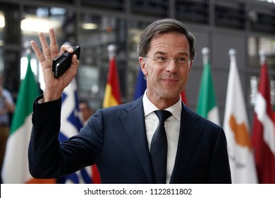 Brussels, Belgium on Jun. 28, 2018.Prime Minister of Netherlands,  Mark Rutte arrives for a meeting with European Union leaders.