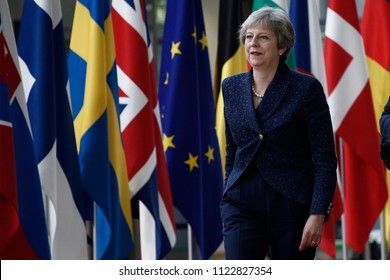 Brussels, Belgium on Jun. 28, 2018. Prime Minister of the UK, Theresa May arrives for a meeting with European Union leaders.