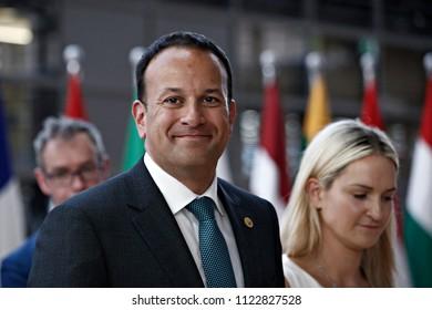 Brussels, Belgium on Jun. 28, 2018. Irish Prime Minister Leo Varadkar  arrives for a meeting with European Union leaders.