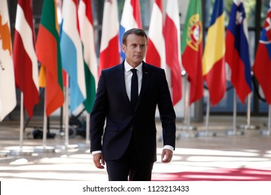 Brussels, Belgium on Jun. 29, 2018. French President Emmanuel Macron   arrives for a meeting with European Union leaders