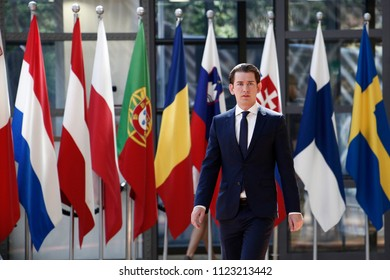 Brussels, Belgium on Jun. 29, 2018.Austrian Chancellor Sebastian Kurz arrives for a meeting with European Union leaders.