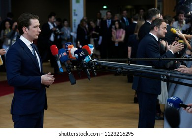 Brussels, Belgium on Jun. 29, 2018.Austrian Chancellor Sebastian Kurz arrives for a meeting with European Union leaders.