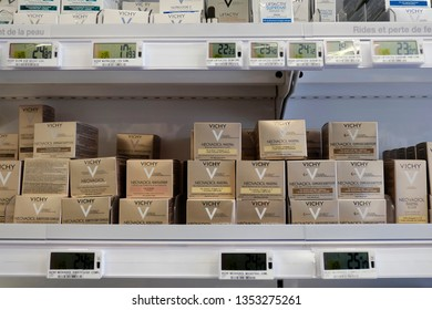 Brussels, Belgium on March 2, 2019. Vichy products displayed on a pharmacy shelf. Vichy is a premium brand of skincare, bodycare, make-up and anti-aging products owned by L'Oréal.