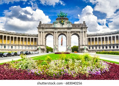 Brussels, Belgium. Parc du Cinquantenaire with the Arch built for Beglian independence in Bruxelles.