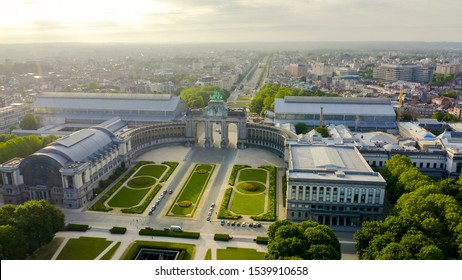 Brussels, Belgium. Park of the Fiftieth Anniversary.The Arc de Triomphe of Brussels (Brussels Gate), Aerial View