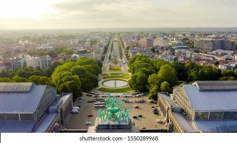 Brussels, Belgium. Park of the Fiftieth Anniversary. Park Senkantoner. The Arc de Triomphe of Brussels (Brussels Gate), Aerial View