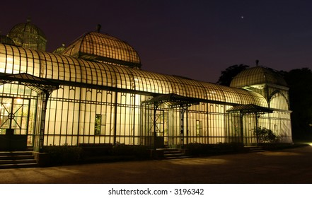 The Brussels (Belgium) royal greenhouse at night