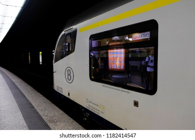 Brussels, Belgium Sep. 16, 2018. A train arrived at Central railway station.