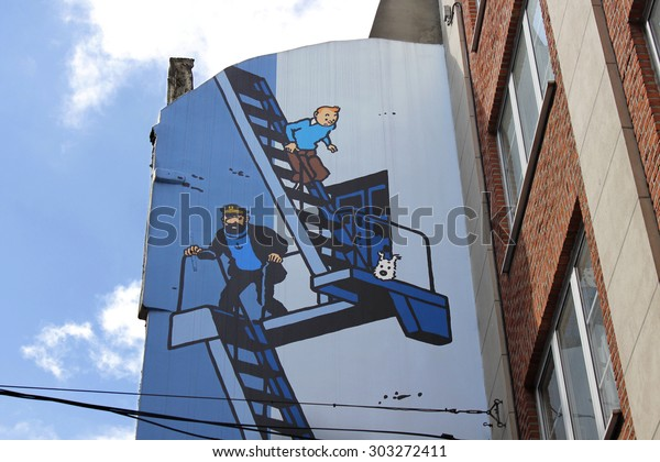 BRUSSELS, BELGIUM - SEPTEMBER 14, 2011: Comic strip mural painting on September 14, 2011 in Brussels, Belgium. Brussels is known as a homeland of comic strips and is full of comic murals.