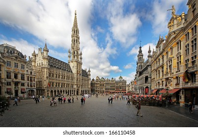 BRUSSELS, BELGIUM - SEPTEMBER 15 2013: Brussels city central square Grand Place surrounded by its Baroque style is part of UNESCO world heritage