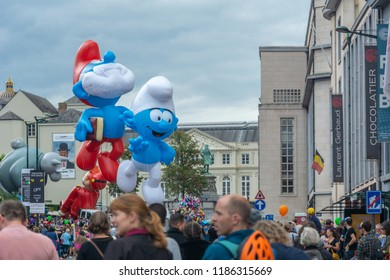 Brussels, Belgium - September 15,2018 : Brussels celebrates the comic strip festival with exhibitions, meetings with authors, and a balloons parade.
