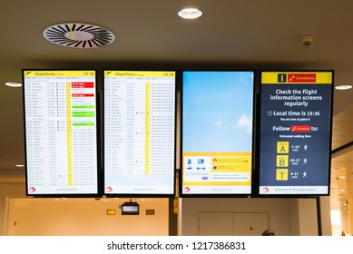 Brussels / Belgium - September 16 2018:  Digital display at Brussels international airport in Belgium. Flight connections with cities around the world. Departure and arrivals terminal gates