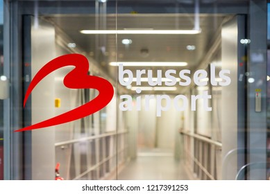 Brussels / Belgium - September 16 2018: Brussels airport logo in Brussels airport in Belgium.