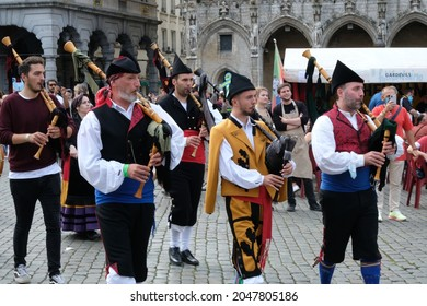 Brussels, Belgium - September 19, 2021: Participation of the Grupo Folklorico Centro Asturiano de Bruselas at Folklorissimo - Performance and animation accompanied by bagpipes, drums and dancing.