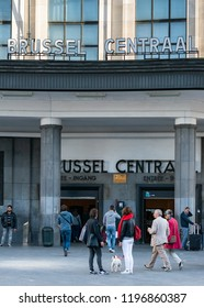 BRUSSELS, BELGIUM. September 28,2018. The Brussels Central Station, main entrance.