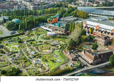 Brussels, BELGIUM - SEPTEMBER 29, 2017 An aerial view of Mini Europe Amusement Park in Brussels, Belgium. Mini Europe has over 350 reproductions of famous buildings and landmarks found across Europe.