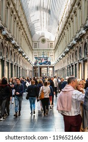 Brussels, Belgium - SEPTEMBER 29,2018: The Galeries Royales Saint-Hubert is a glazed shopping arcade in Brussels that preceded other famous 19th-century shopping arcades