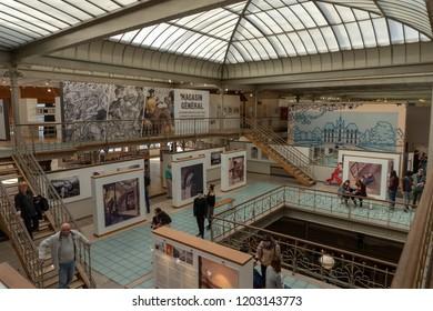 Brussels, Belgium SEPTEMBER 30, 2018: interiors of the Comics Art Museum in Brussels