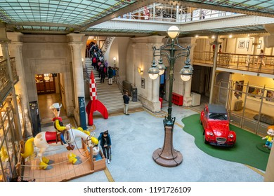 Brussels, Belgium - September 30,2018 : This beautiful museum is located in an Art Nouveau style building designed by Victor Horta. It has been honouring the creators and heroes of the 9th Art.