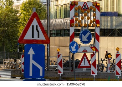 Brussels, Belgium - September 4, 2019: Road signs signaling work on the rue de la loi in brussels