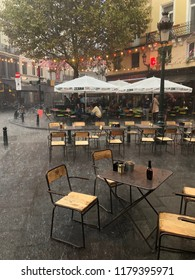 Brussels, Belgium, September 4th, 2018 : Rainfall over the Halles Saint-Géry, in the center of Brussels