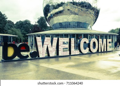 BRUSSELS, BELGIUM - September 7, 2015: Huge Welcome letters in front of the Entrance to the Atomium - a building in Brussels originally constructed for Expo 58, the 1958 Brussels World's Fair