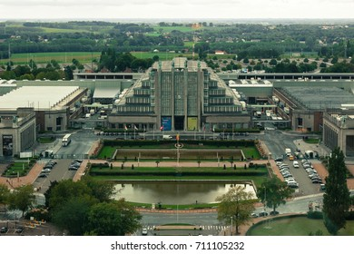 BRUSSELS, BELGIUM - September 7, 2015: Expo building  in Brussels, view from the Atomium