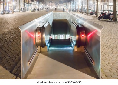 Brussels Belgium subway entrance at night