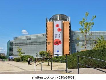 BRUSSELS, BELGIUM-AUGUST 05, 2014: European Commission headquarter the Berlaymont building decorated to commemorate 100 years of World War of 1914-1918.