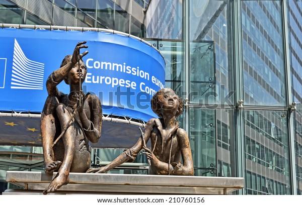 BRUSSELS, BELGIUM-AUGUST 05, 2014: Modern office of European Commission in European Quarter of Brussels