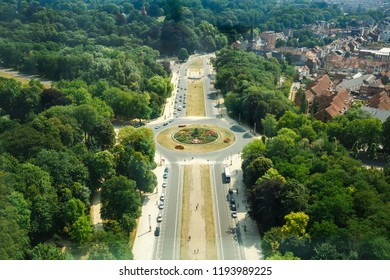 Brussels, Belgium-August 13, 2015-Panoramic view from the top of Atomium.