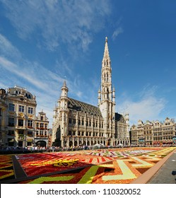 BRUSSELS, BELGIUM-AUGUST 15: African theme Flower Carpet attracted tourists from the entire world to Grand Place on August 15, 2012 in Brussels. This is biennial event with different themes every time