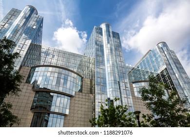 Brussels, Belgium-August 25, 2015- European Parliament modern building in Belgian capital.