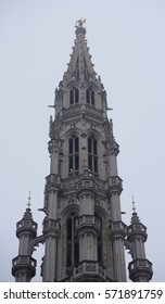 Brussels, Belgium-December 31,2016: On the Grand Place Square is City Hall. The weather is cloudy