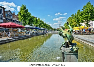BRUSSELS, BELGIUM-JUNE 06, 2013: Place Saint Catherine, which was built on place of the old port. This square is a favorite place for tourists searching Belgian sea food restaurants