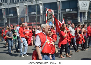BRUSSELS, BELGIUM-JUNE 6, 2013: Belgian people participate in demonstration against austerity measures and requesting an equal status for employees and workers in Brussels.