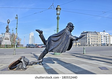 BRUSSELS, BELGIUM-MARCH 08, 2014: Sculpture De Vaartkapoen created in 1985 illustrating cartoon serial about Quick and Flupke.