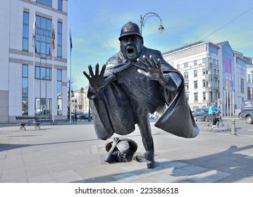 BRUSSELS, BELGIUM-MARCH 08, 2014: Sculpture De Vaartkapoen created in 1985 illustrating cartoon serial about Quick and Flupke