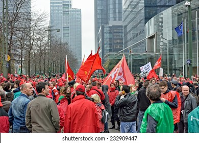 BRUSSELS, BELGIUM-NOVEMBER 06, 2014: National manifestation against austerity measures introduced by Belgian government. More than 100000 participants expected on streets of Brussels