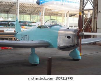 BRUSSELS, BELGIUM-OCT. 1: A Tipsy Trainer (1937) antique training airplane is seen on display at the Royal Museum of The Armed Forces and Military History in Brussels, Belgium on October 1, 2015.