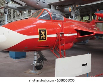 BRUSSELS, BELGIUM-OCT. 15: Hawker-Hunter historic jet fighter plane  on display Brussels Belgium Royal Museum of the Armed Forces and Military History seen on October 15, 2015.