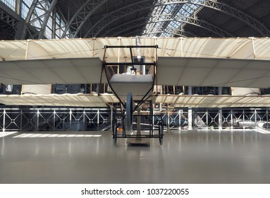 BRUSSELS, BELGIUM-OCT.1: A Voisin-de Caters French made antique airplane 1914  seen   The Royal Museum of the Armed Forces and Military History in    Brussels, Belgium on October 1, 2016/