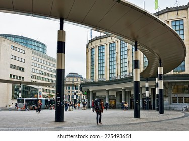 BRUSSELS, BELGIUM-OCTOBER 23, 2014: View of Central Railway Station of Brussels from Carrefour de l'Europe square. The station was opened in 1952