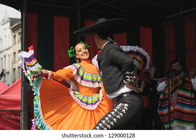 BRUSSELS, BELGIUM-SEPTEMBER 15: Dancers of Xochicalli Mexican folkloric ballet perform in concert on Grand Place during 12 edition of Folklorissimo Festival on September 15, 2012 in Brussels, Belgium