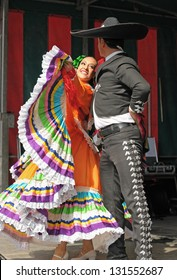 BRUSSELS, BELGIUM-SEPTEMBER 15: Xochicalli Mexican folkloric ballet performs in a concert on Grand Place during 12 edition of Folklorissimo Festival on September 15, 2012 in Brussels, Belgium
