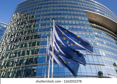 brussels, brussels/belgium - 12 12 18: european union flags in front of an building