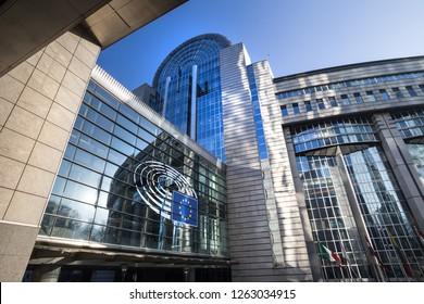 brussels, brussels/belgium - 12 12 18: european parliament building brussels belgium