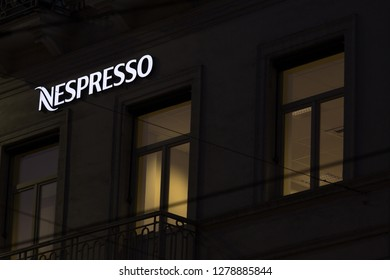 brussels, brussels/belgium - 13 12 18: nespresso sign in brussels belgium in the evening