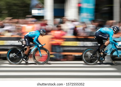 Brussels, Brussels Capital Region / Belgium - July 9 2019: Tour de France team time trial on the streets of Brussels