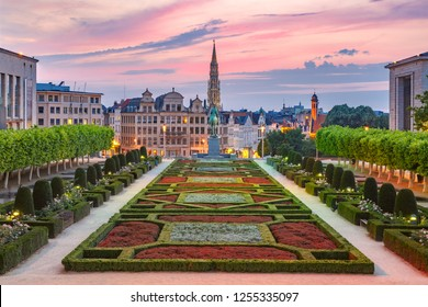 Brussels City Hall and Mont des Arts area at sunset in Brussels, Belgium